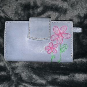 Genuine Leather Wallet with cute flower stitching
